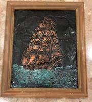 """VINTAGE Ship In Water INK ENGRAVED COPPER FOIL Wood Framed 10x12"""""""
