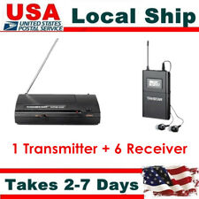 UHF Wireless In ear Monitor System 6 Selectable Channels Transmitter+6 Receivers