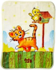 Baby Mink - Ultra Soft Plush Fleece Blanket Playful Beginnings Kitten & Bird