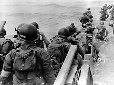 WW2 Photo WWII  US Troops Wading Ashore D-Day Normandy   World War Two / 1551