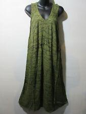 Dress Fits 1X 2X 3X Plus Sundress Green Water Color  A Shape Cotton NWT G325