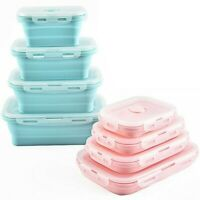 Silicone Food Portable Lunch Box Bowl Bento Folding Collapsible Storage Containe