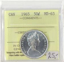 Canada 1965 50 Cents ICCS Certified MS-63 Queen Elizabeth II XTG 853