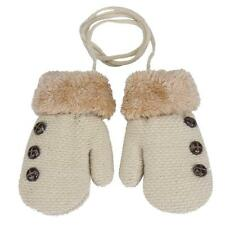 Winter Warm Toddler Baby Boy Girls Kid Thick Fur Gloves Mittens with Neck String