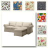 Custom Made Cover Fits IKEA EKTORP Two Seat Sofa with Chaise, Patterned Fabric