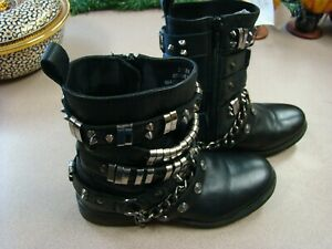 SOSA BLACK LEATHER BOOTS  WITH CHAINS AND SPIKES SIZE 3