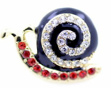 Gold tone enamel snail ring with crystal, UK Size N