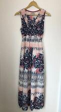 MANTARAY UK 12 Maxi Dress blue pink Floral Summer Tie Back Sleeveless