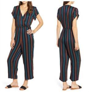 Madewell Size 6Stripe Short Sleeve Wrap Jumpsuit NWT  B015
