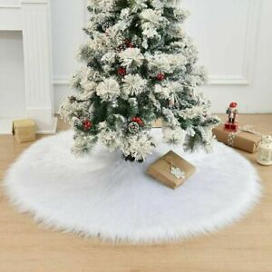 90cm Long Haired Faux Fur Xmas Tree Skirt Mat for Christmas Party Decor Ornament