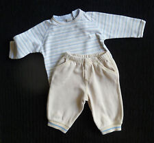 Baby clothes BOY 3-6m NEXT outfit pale beige/blue soft trousers/long sleeve top