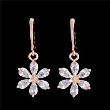 18k Gold Plated Cubic Zirconia Flower Dangle Hoop Magnetic Earrings