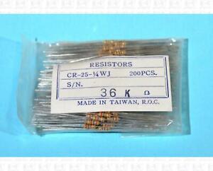 Resistors 36K Ohm 36000 Ohm 0.25 Watt Carbon Composition Lot Of 200