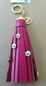 NWT Michael KORS Floral Applique Leather Tassel Purse Charm 68$