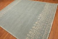 Old Hand Made Blue Contemporary Boarder Style Parsian Oriental Wool Area Rug