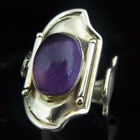 Estate Signed Amethyst 18k Yellow Gold Large Cocktail Ring Modern Contemporary
