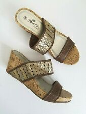 Sbicca Cork Wedge Sandals Gold Womens Size 7.5M