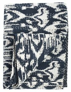 Black Queen Ikat Kantha Quilt Blanket -Cotton Quilted Bedspreads,throws,ralli,