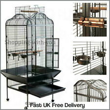 Large Parrot Cage Black Wheeled Bird House Indoor Outdoor Durable Wrought Metal