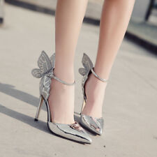 Women Closed Toe Pumps Wedding Stilettos Butterfly High Heels Party Bridal Shoes