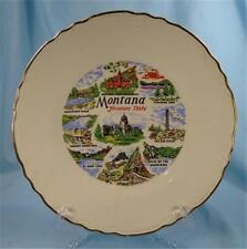 Vintage Montana Treasure State Plate Souvenir Collector Plate Colorful 1950s (O)