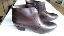 NEW CLARKS KATHLEEN BROWN LEATHER ANKLE BOOTS UK SIZE 8D