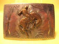 Old Custom BAR-J Denver BUCKING HORSE Western Belt Buckle Hand Engvd BEAUTIFUL