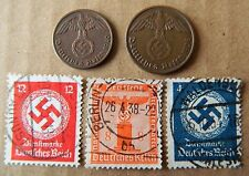 Lot of Germany 3rd Reich 1&2 Reichspfennig coins and 3 stamps with Swastika -C9