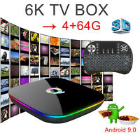 Newest Android 9.0 6K 4+64G Q Plus Quad Core TV Box WIFI USB H.265 With Keyboard