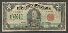 1923 $1.00 DC-25g aF SCARCE Dominion of Canada RED Seal King George V One Dollar