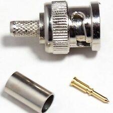 QTY 100 - BNC macho conector a Presión - Cctv Cable Coaxial RG59-RG62, urm70