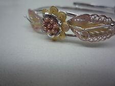 nuovo argento sterling filigrana braccialetto allungabile tre colori oro rosa