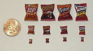 Lot of Dollhouse Miniature Food 4 bags of potato chips 1:24 Dollys Gallery H138
