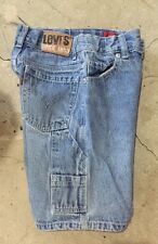 euc LEVI'S faded DENIM blue jean CARPENTER style SHORTS boy's 7 (23 x 7 1/2)