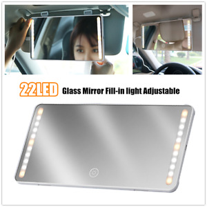 22LED Universal Car Makeup Mirror Sun Visor Rear View Glass Mirror Fill-in light