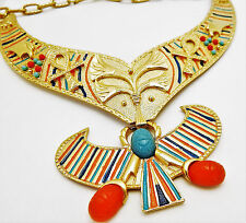 Vintage EGYPTIAN REVIVAL WINGED SCARAB Necklace Collar Enamel 1970s Art Deco