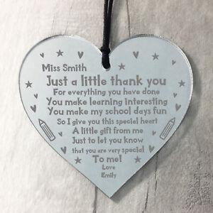PERSONALISED Mirror Acrylic Heart For Teacher Thank You Nursery School Gift