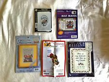 5 Counted Cross Stitch Kits Bucilla nmi janlynn Sugarplum pics cards New
