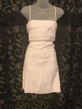 Suzy Chin Maggy Boutique White Dress Eyelet Lace SZ 8