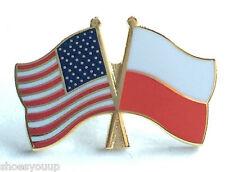 USA & Poland Flags Friendship Courtesy Gold Plated Enamel Lapel Pin Badge