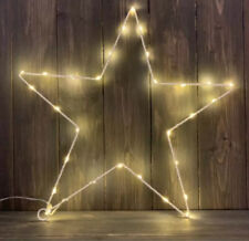 Large White Wire LED Light Up Star Christmas Decoration 41cm