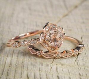 3Ct Cushion Cut Morganite Diamond Bridal Set Engagement Ring 14k Rose Gold Over