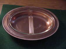 "Oval Copper Serving Bowl, with Glassbake insert, 11 1/2"" by 8 3/4"""