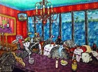 Turkey & vulture on a cruise ship bird art PRINT abstract folk pop ART JSCHMETZ