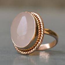 Pink Rose Quartz Oval Gemstone 14K Rose Gold Silver Handmade Ring Size 7
