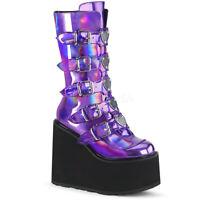 Demonia SWING-230 Women's Sexy Purple Hologram 5-Buckle Platform Mid-Calf Boots