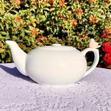 Classic Cordon Bleu French Pink Bird Teapot White Ceramic 32 Oz
