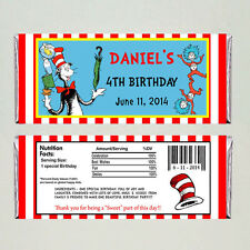 Dr. Seuss Birthday Candy Bar Wrappers Party Favors Cat in the Hat - Printable