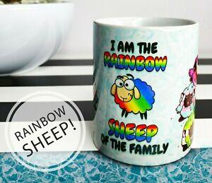 Funny Rainbow Sheep Mug LGBT Flag Coffee Cup Pride Bi Pan Trans Gay Pride gift