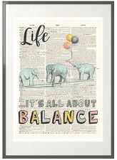 Elephants & Balloons: Vintage Print Upcycled Dictionary Art - Life Motivation